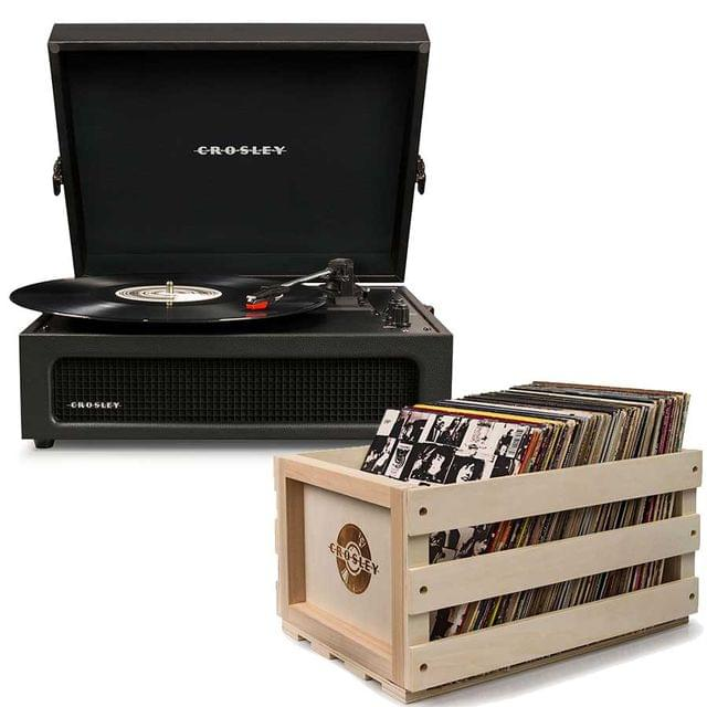 Crosley Voyager Portable Turntable - Black + Free Record Storage Crate