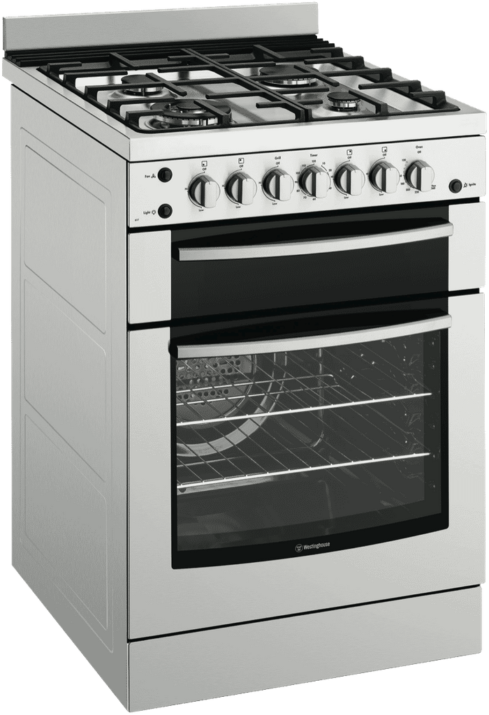 WESTINGHOUSE 60cm Gas Upright F/F Gas Oven Sep Grill C.I Trivets