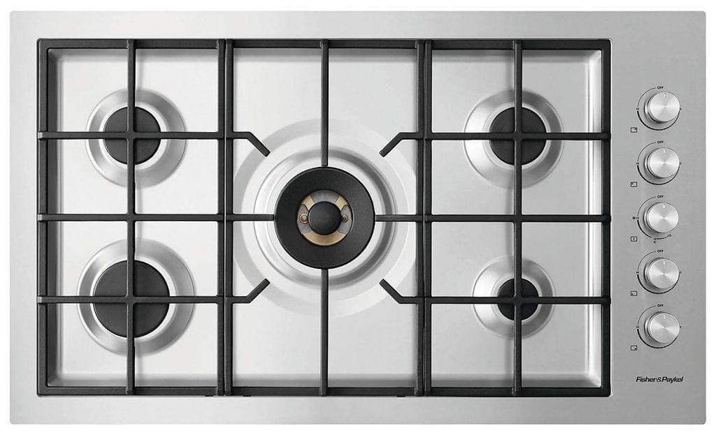 F&P 90cm 5 Burner Gas Cooktop Wok LPG FF
