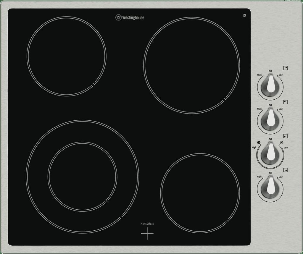WESTINGHOUSE 60cm Ceramic Cooktop 4 Element S/S Surround