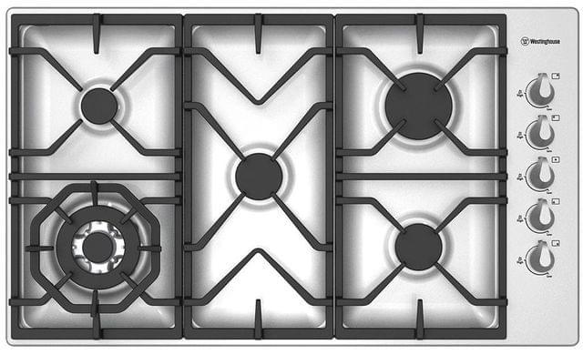 WESTINGHOUSE 90cm 5 Burner Gas Cooktop C.I. Trivets Side Control