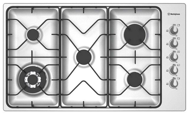 WESTINGHOUSE 90cm 5 Burner Gas Cooktop Including Wok Burner F/F