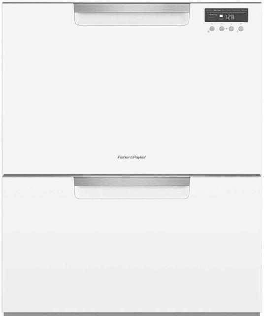 F&P 60cm Double Dish Drawer - Classic White