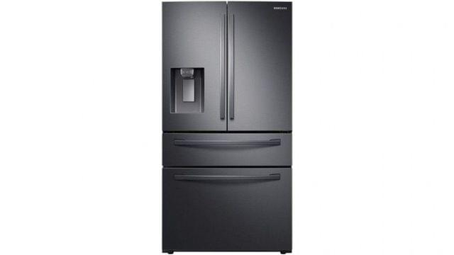 SAMSUNG 680L French Door Fridge Ice & Water Blk Steel