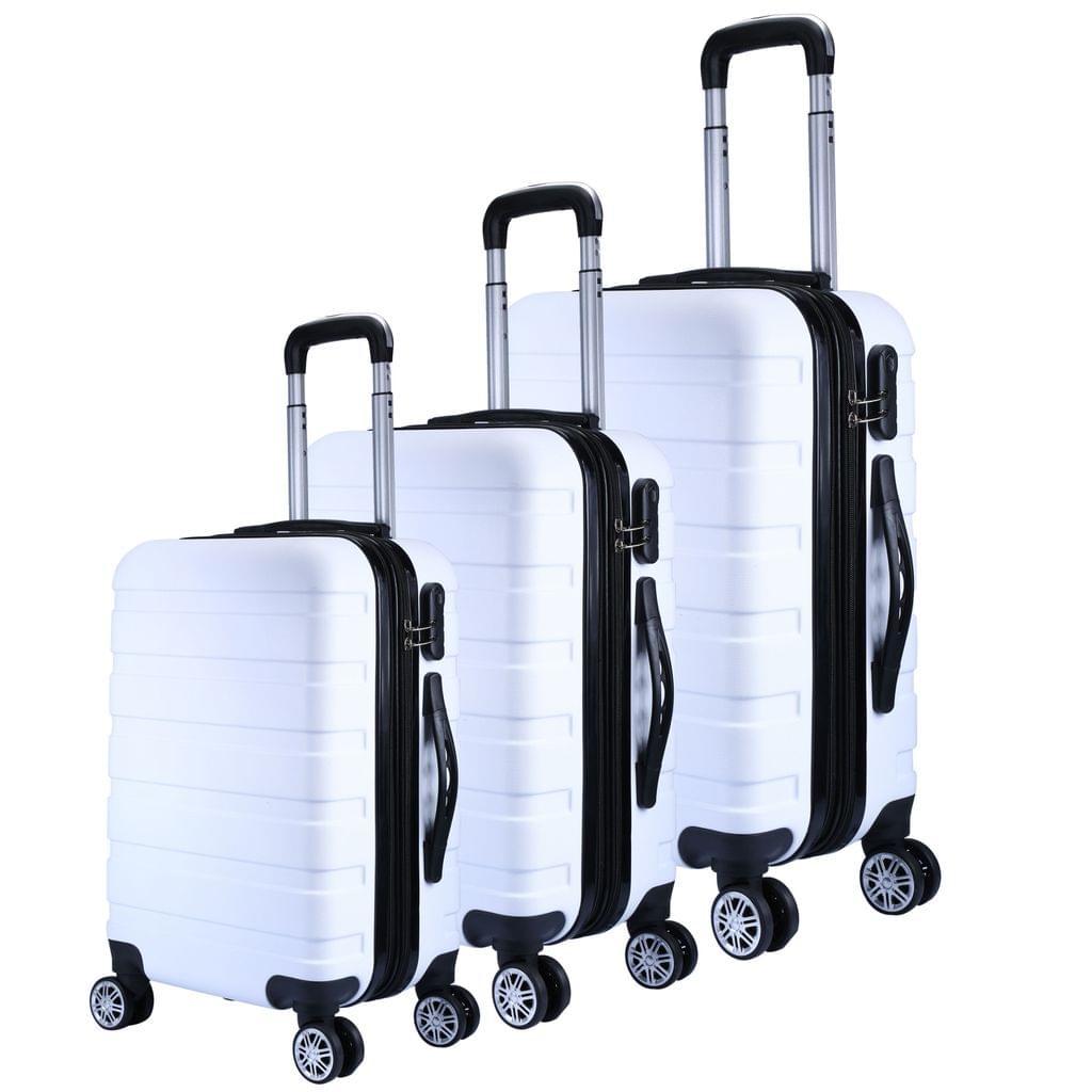 Milano XPander 3pc ABS Luggage Suitcase Luxury Hard Case Shockproof Travel Set - White