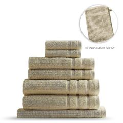 Royal Comfort Eden Egyptian Cotton 600GSM 8 Piece Luxury Bath Towels Set - Beige