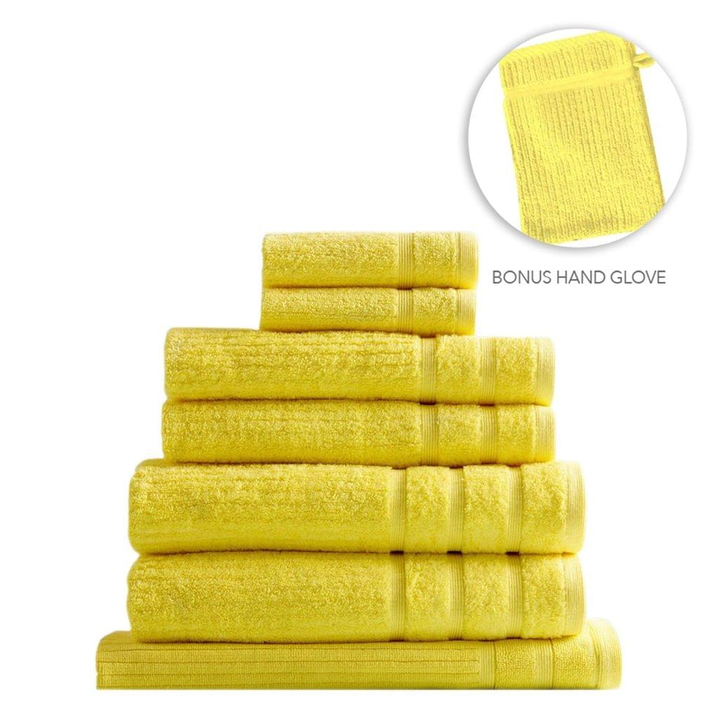 Royal Comfort Eden Egyptian Cotton 600GSM 8 Piece Luxury Bath Towels Set - Yellow