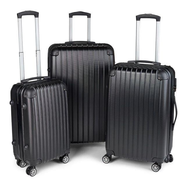 Milano Premium 3pc ABS Luggage Suitcase Luxury Hard Case Shockproof Travel Set - Black