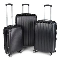 Milano Premium 3pc ABS Luggage Suitcase Luxury Hard Case Shockproof Travel Set - Black