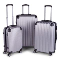 Milano Premium 3pc ABS Luggage Suitcase Luxury Hard Case Shockproof Travel Set - Silver