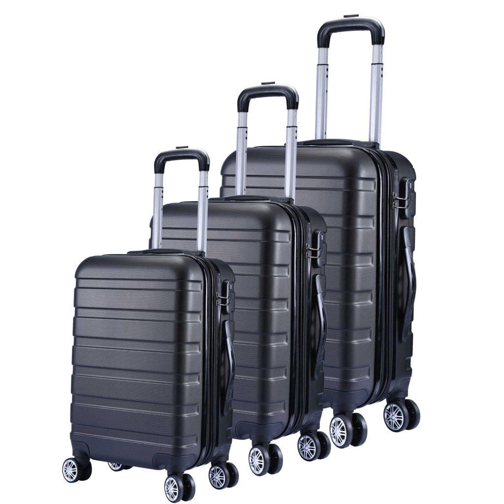 Milano XPander 3pc ABS Luggage Suitcase Luxury Hard Case Shockproof Travel Set - Black