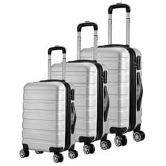 Milano XPander 3pc ABS Luggage Suitcase Luxury Hard Case Shockproof Travel Set - Silver