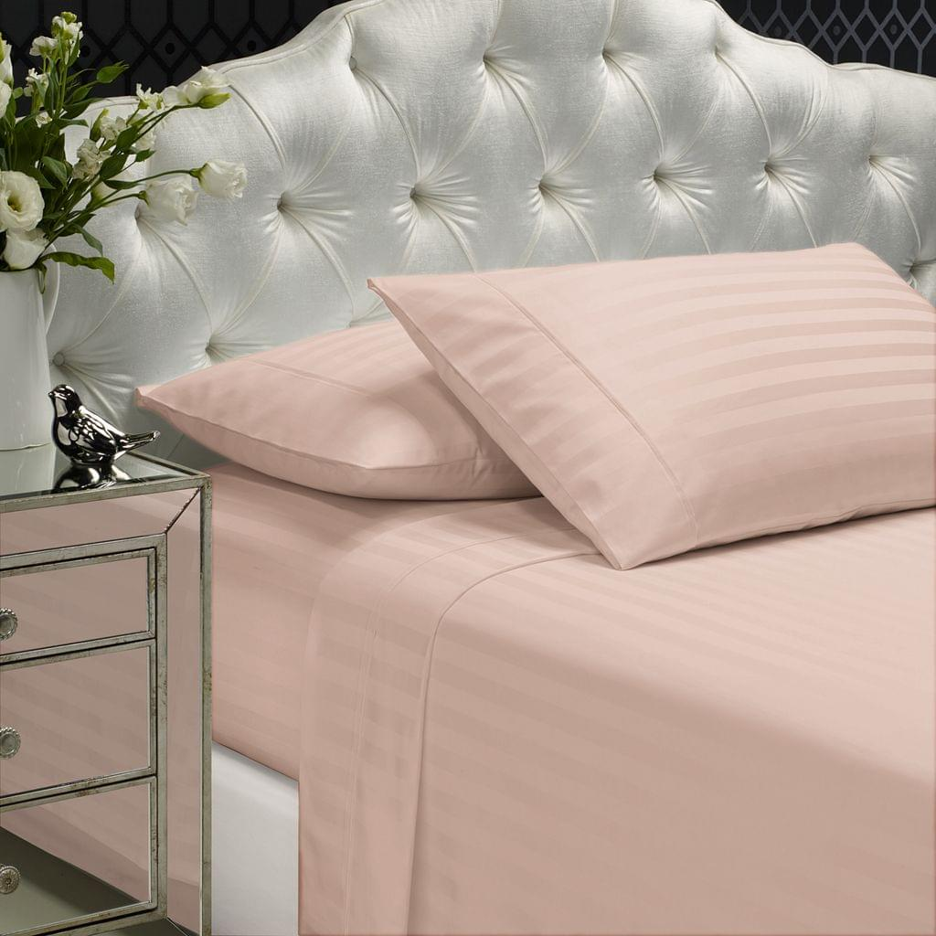 Royal Comfort 1200 Thread count Damask Stripe Cotton Blend sheet sets King Blush