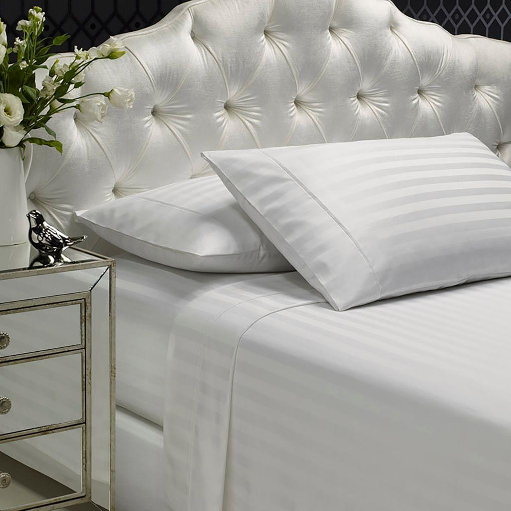 Royal Comfort 1200 Thread count Damask Stripe Cotton Blend sheet sets King White