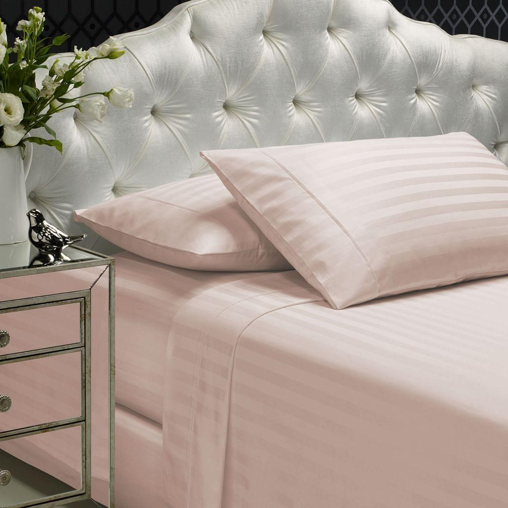 Royal Comfort 1200TC Soft Sateen Damask Stripe Cotton Blend Sheet Pillowcase Set - Blush