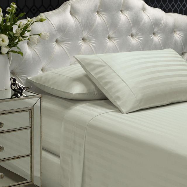 Royal Comfort 1200TC Soft Sateen Damask Stripe Cotton Blend Sheet Pillowcase Set - Silver
