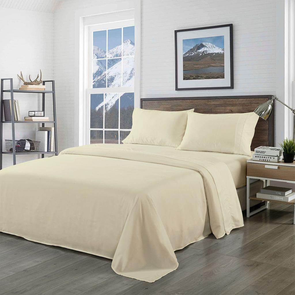 Royal Comfort Bamboo Blended Sheet & Pillowcases Set 1000TC Ultra Soft Bedding - King - Ivory