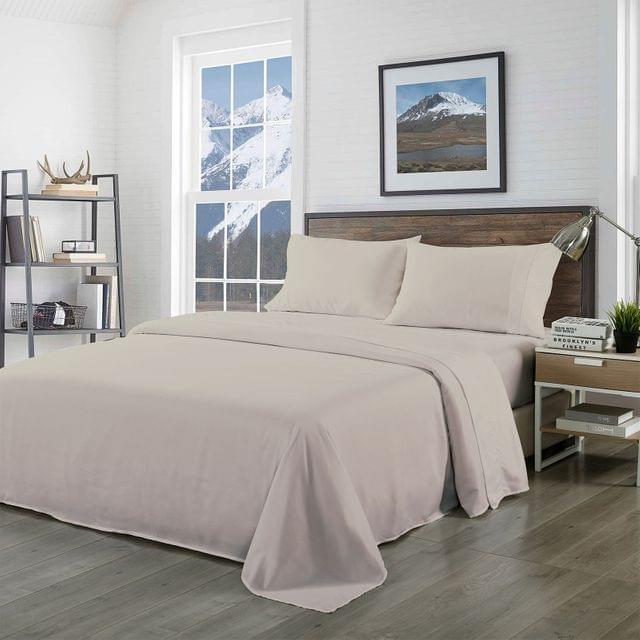 Royal Comfort Bamboo Blended Sheet & Pillowcases Set 1000TC Ultra Soft Bedding - King - Warm Grey