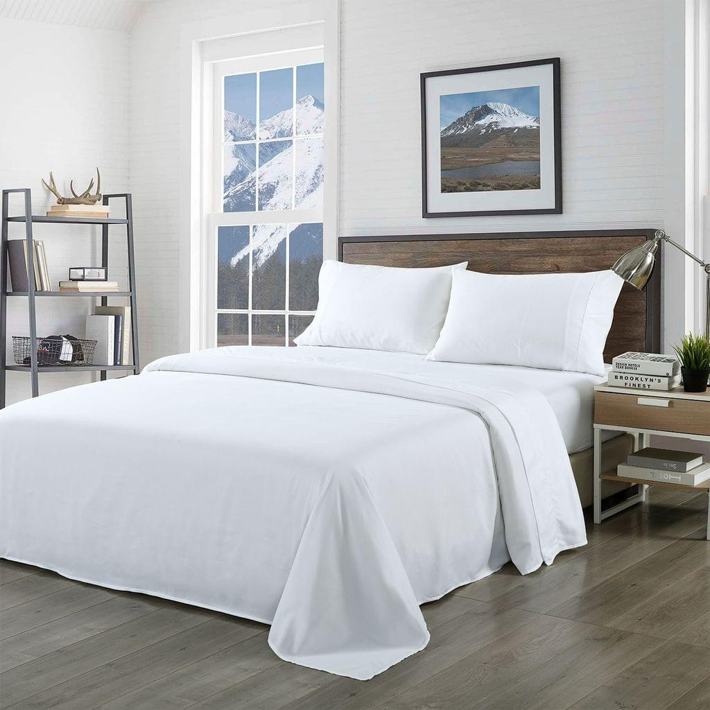 Royal Comfort Bamboo Blended Sheet & Pillowcases Set 1000TC Ultra Soft Bedding - Queen - White