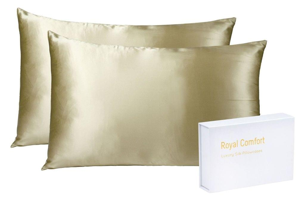 Royal Comfort Mulberry Soft Silk Hypoallergenic Pillowcase Twin Pack 51 x 76cm - Champagne