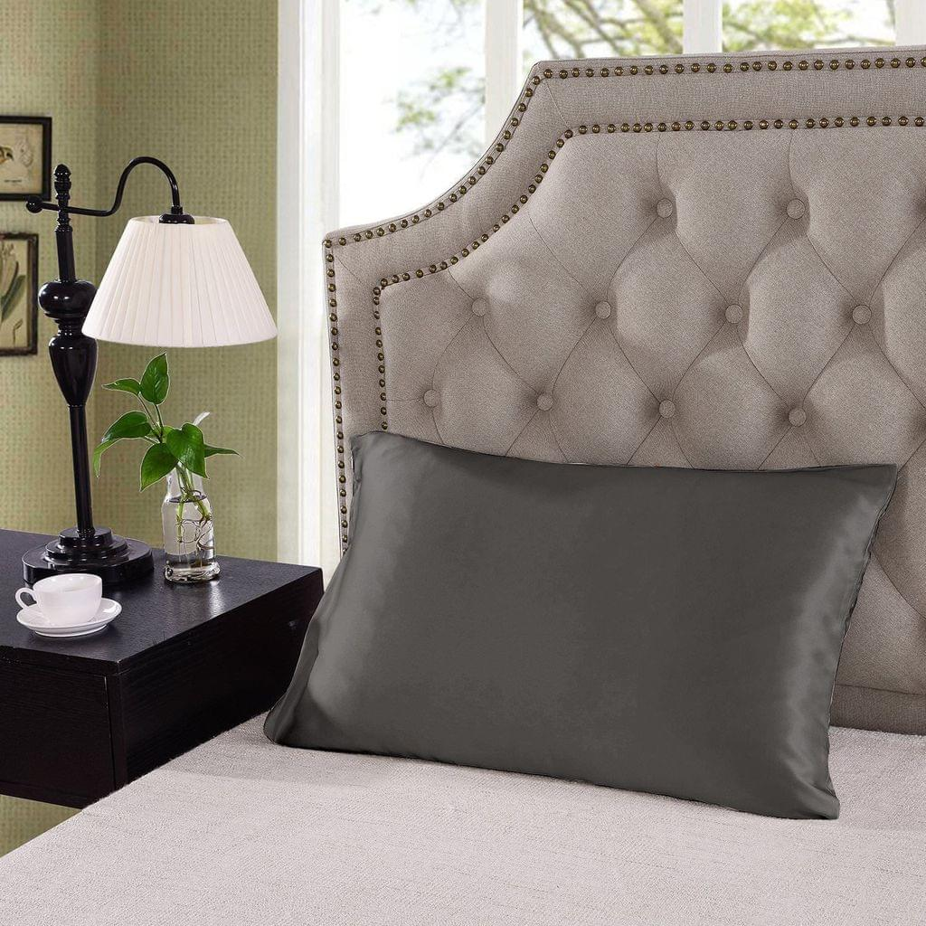 Royal Comfort Mulberry Soft Silk Hypoallergenic Pillowcase Twin Pack 51 x 76cm - Charcoal