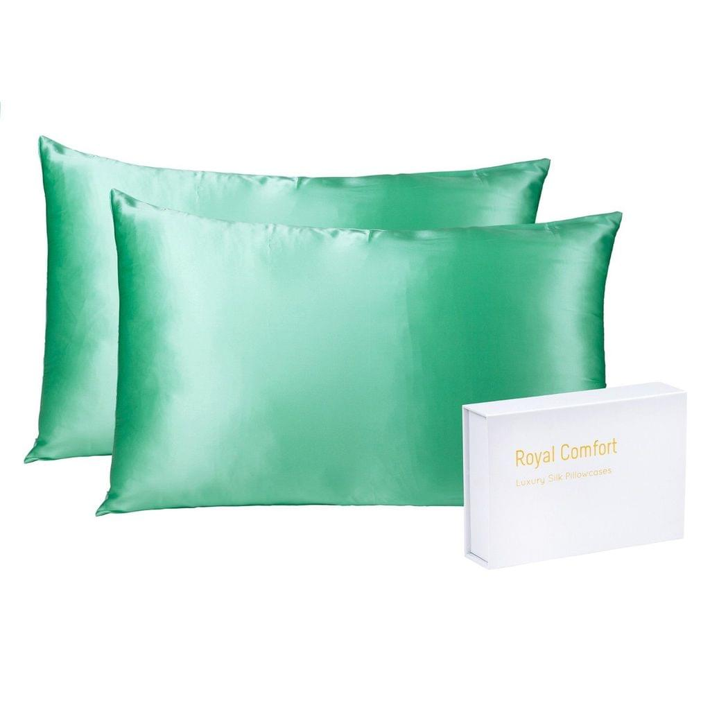 Royal Comfort Mulberry Soft Silk Hypoallergenic Pillowcase Twin Pack 51 x 76cm - Mint