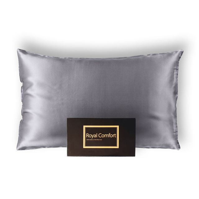 Royal Comfort Pure Silk Pillow Case 100% Mulberry Silk Hypoallergenic Pillowcase - Charcoal
