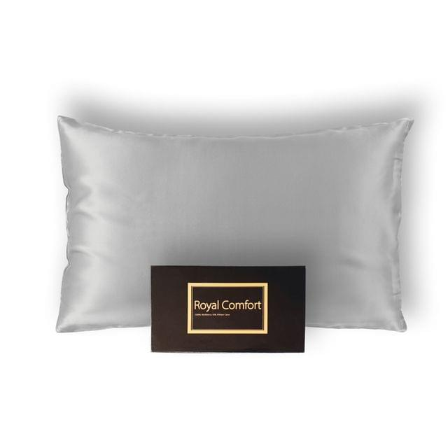 Royal Comfort Pure Silk Pillow Case 100% Mulberry Silk Hypoallergenic Pillowcase - Silver