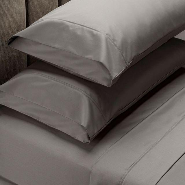 RC Bed Sheets Set 1000TC Soft Touch Cotton Blend Flat Fitted Double/Queen/King - Queen - Charcoal
