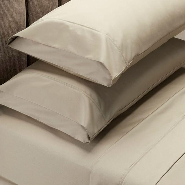 RC Bed Sheets Set 1000TC Soft Touch Cotton Blend Flat Fitted Double/Queen/King - Queen - Pebble