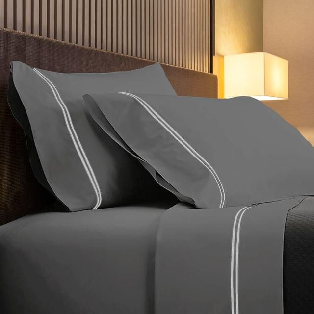 Renee Taylor 1000TC Sheet Set Cotton Rich Soft Touch Hotel Quality Bedding - Queen - Coal