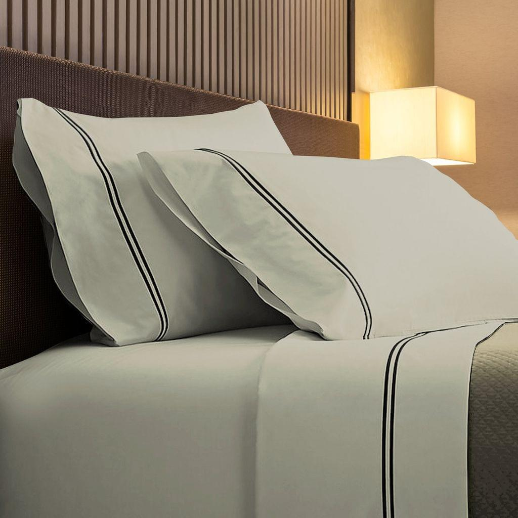 Renee Taylor 1000TC Sheet Set Cotton Rich Soft Touch Hotel Quality Bedding - Queen - Silver