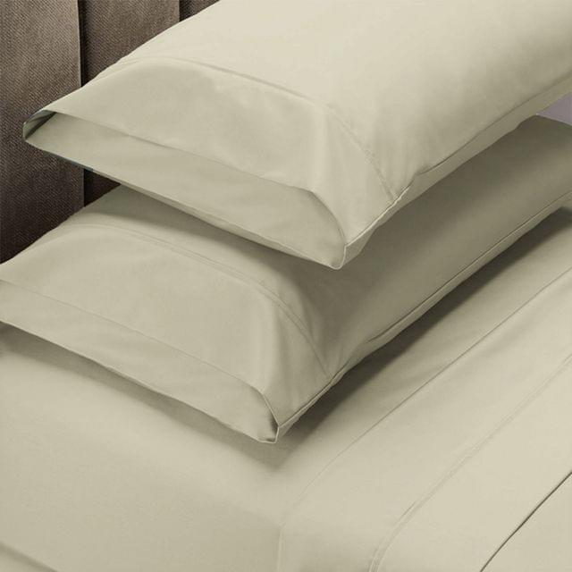 Renee Taylor 1500 Thread Count Pure Soft Cotton Blend Flat & Fitted Sheet Set - Queen - Ivory