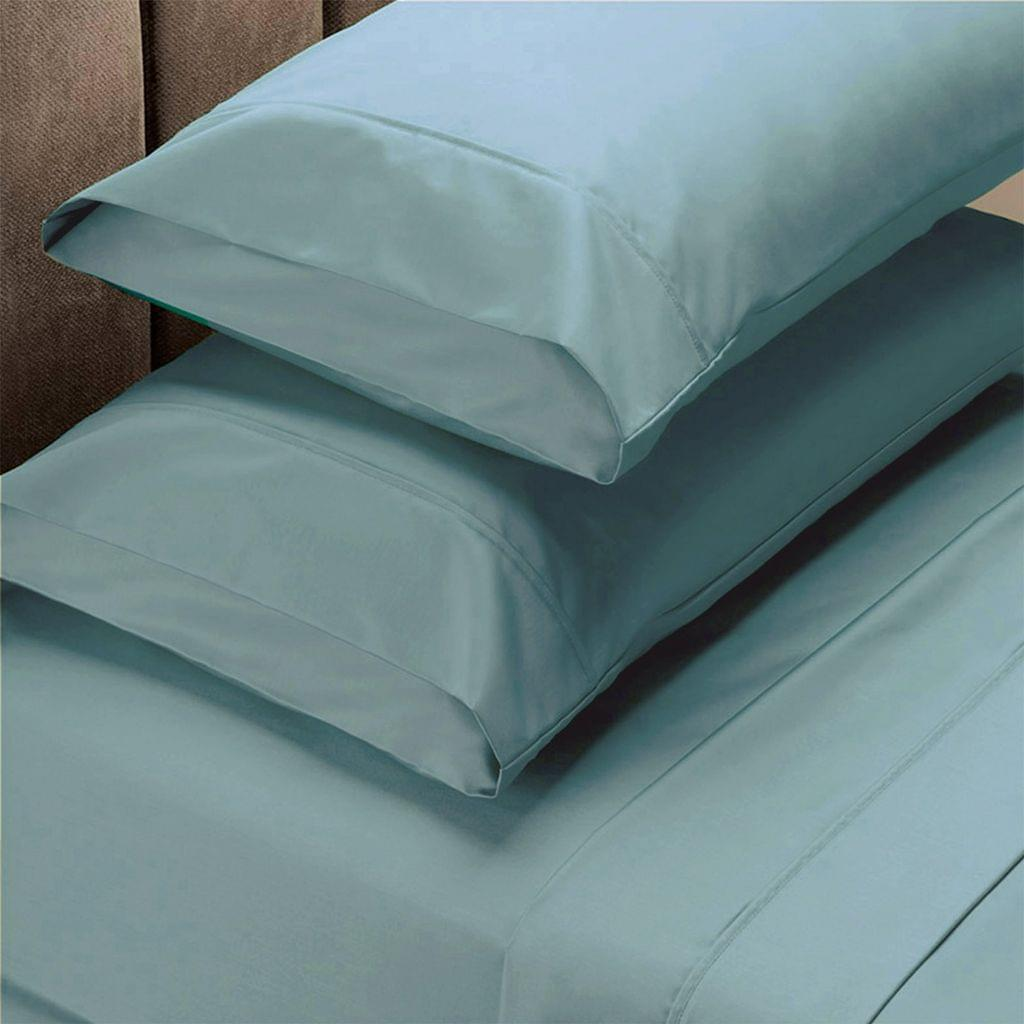 Renee Taylor 1500 Thread Count Pure Soft Cotton Blend Flat & Fitted Sheet Set - Queen - Mist