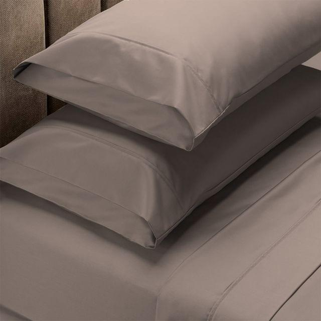 Renee Taylor 1500 Thread Count Pure Soft Cotton Blend Flat & Fitted Sheet Set - Queen - Stone