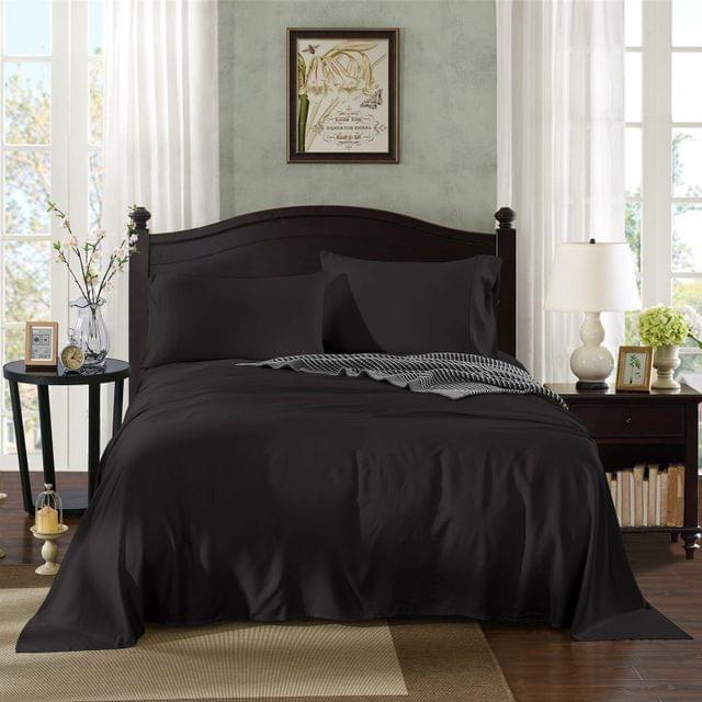 Royal Comfort 100% Bamboo Cotton 4 Piece Bedding Sheet Set Mega Queen - Graphite