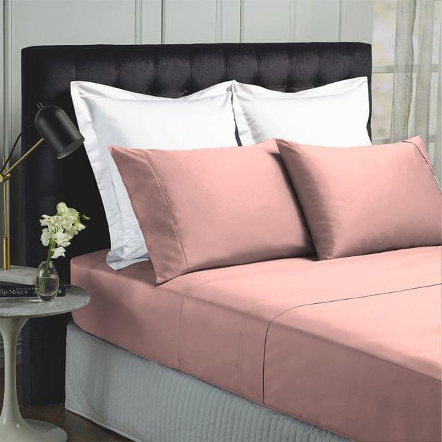 Royal Comfort 1000TC Hotel Grade Bamboo Cotton Sheets Pillowcases Set Ultrasoft - King - Blush