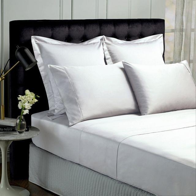 Royal Comfort 1000TC Hotel Grade Bamboo Cotton Sheets Pillowcases Set Ultrasoft - Queen - White