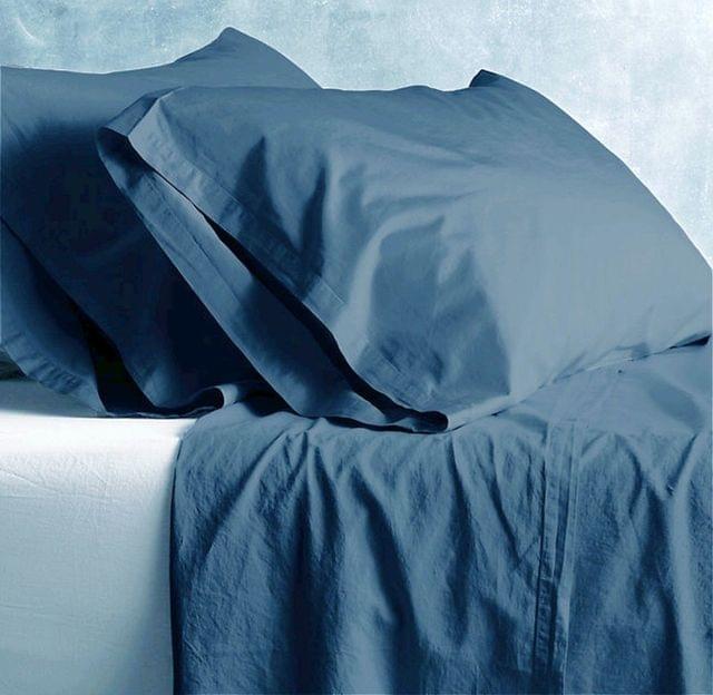 New Bed Sheets Set Vintage Wash 100% Cotton Pillow Case King Queen Double - Queen - Blue