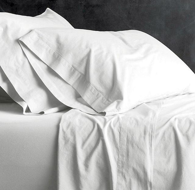New Bed Sheets Set Vintage Wash 100% Cotton Pillow Case King Queen Double - Queen - White