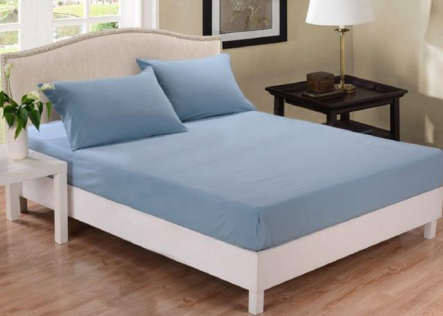 Park Ave 1000TC Cotton Blend Fitted Sheet Set King - Blue Fog