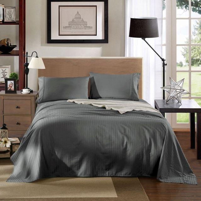 Kensington 1200TC 100% Egyptian Cotton Sheet Set Stripe Luxury MK/K/MQ/Q/D/S - Double - Charcoal
