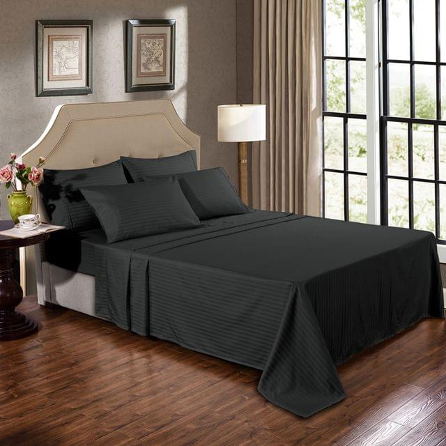 Kensington 1200TC 100% Egyptian Cotton Sheet Set Stripe Luxury MK/K/MQ/Q/D/S - Double - Graphite