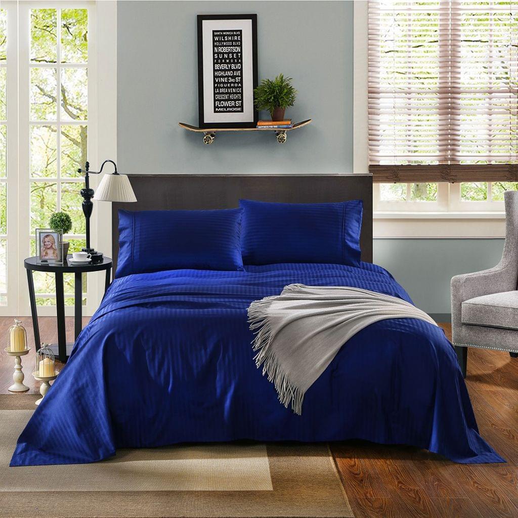 Kensington 1200TC 100% Egyptian Cotton Sheet Set Stripe Luxury MK/K/MQ/Q/D/S - Double - Indigo