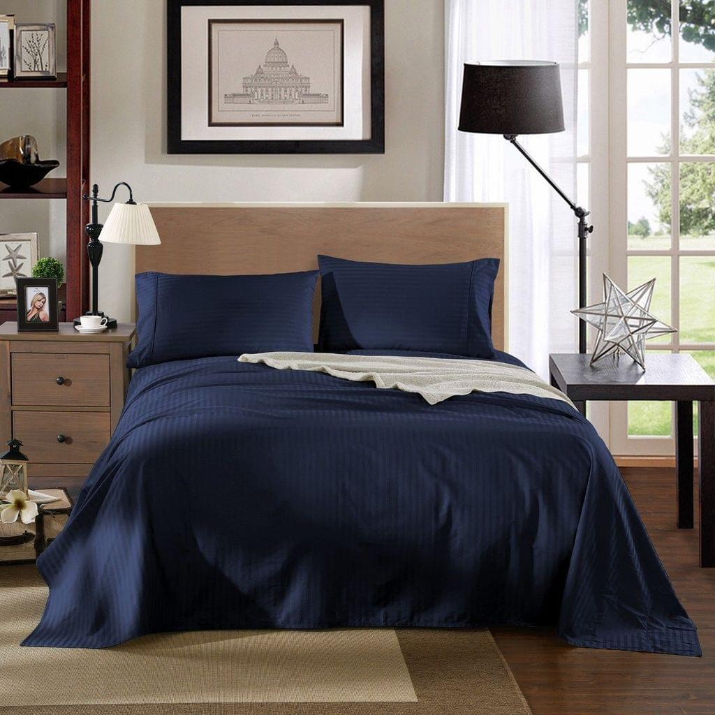 Kensington 1200TC 100% Egyptian Cotton Sheet Set Stripe Luxury MK/K/MQ/Q/D/S - Double - Navy