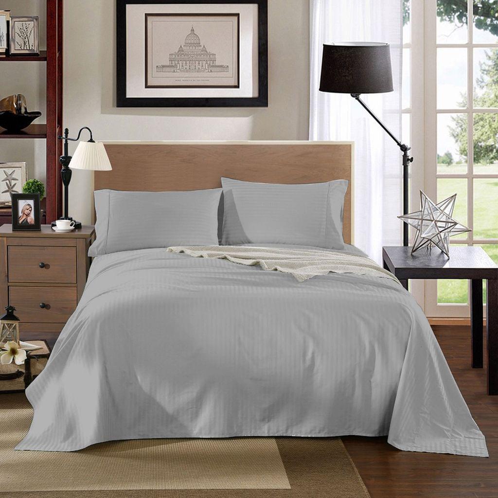 Kensington 1200TC 100% Egyptian Cotton Sheet Set Stripe Luxury MK/K/MQ/Q/D/S - Double - Silver