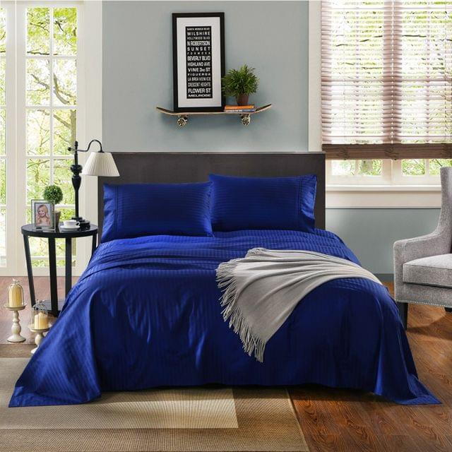 Kensington Luxury 1200TC 100% Cotton 3 Piece Sheet Set in Stripe Single - Indigo