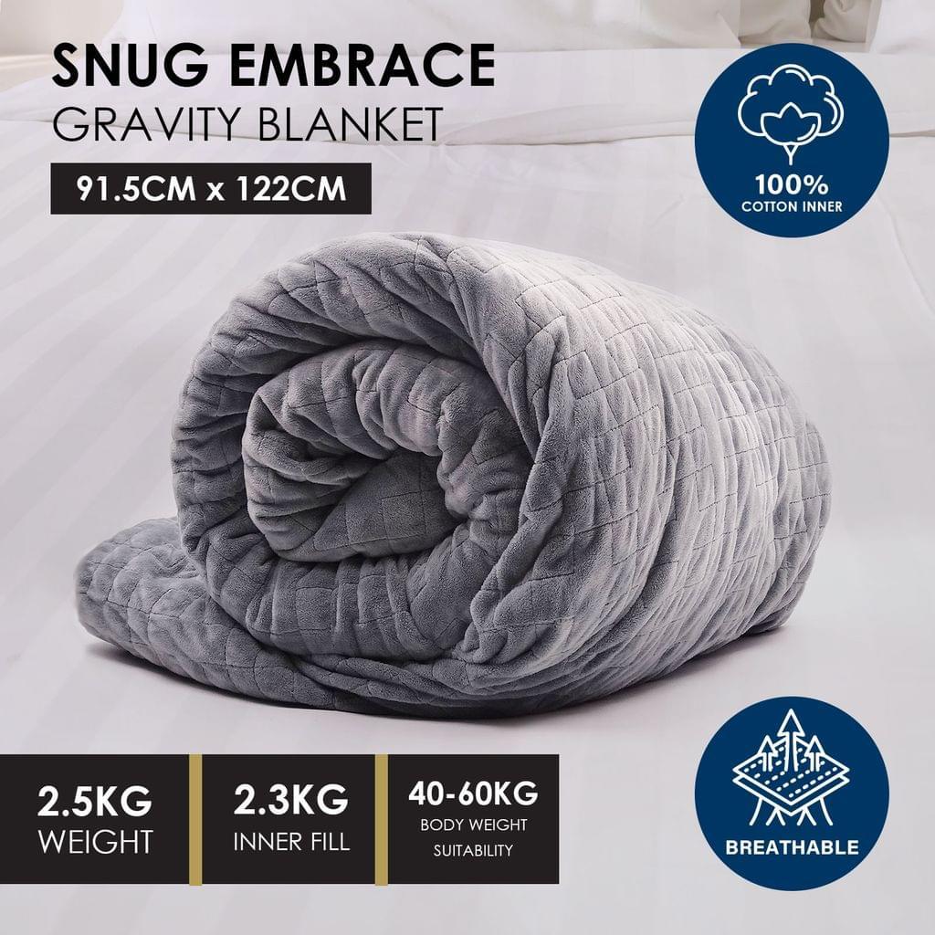 Premium Weighted Snug Ultra Soft Gravity Blanket Adults Kids Various Sizes - 2.5 Kg (91.5cm x 122cm) - Dark Grey