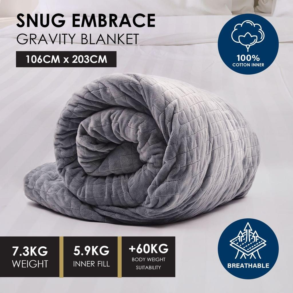 Premium Weighted Snug Ultra Soft Gravity Blanket Adults Kids Various Sizes - 7.3 Kg (106cm x 203cm) - Dark Grey
