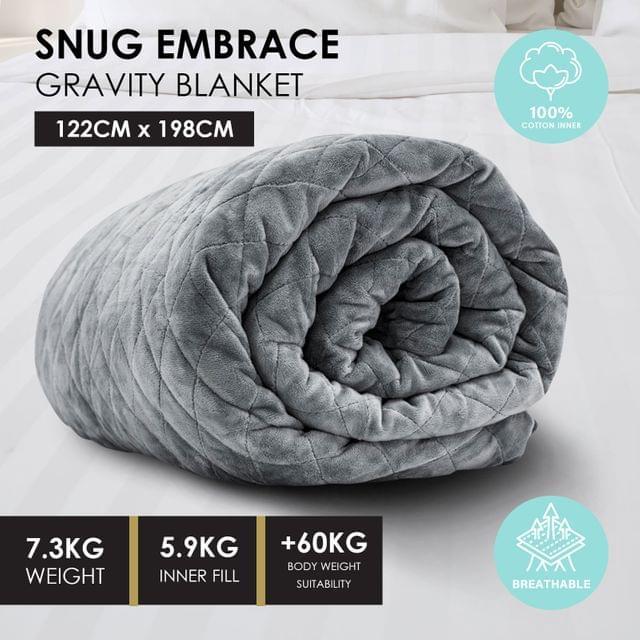 Premium Weighted Snug Ultra Soft Gravity Blanket Adults Kids Various Sizes - 7.3 Kg (122cm x 198cm) - Dark Grey